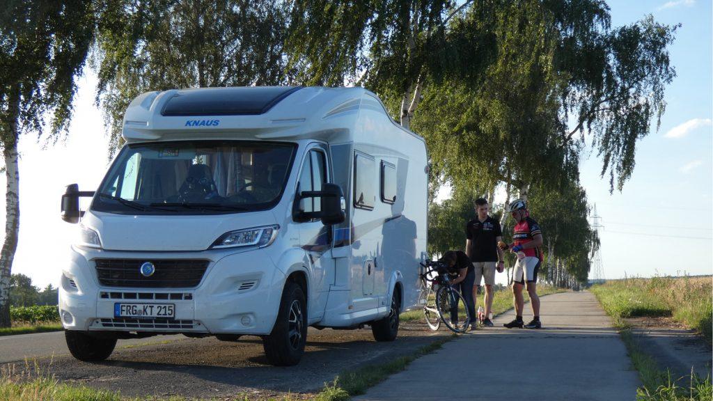 Das Begleit-Wohnmobil auf der Extrem-Strecke